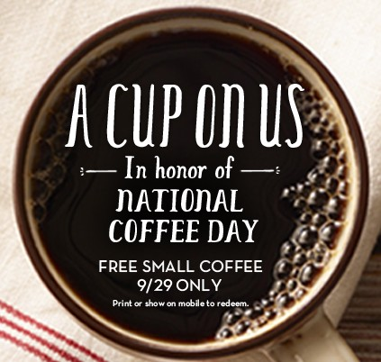 Free Coffee at Caribou Coffee on 9/29