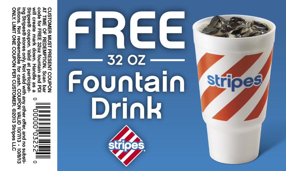 Free 32oz Fountain Drink at Stripes Stores