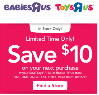 graphic regarding Toys R Us Printable Coupons identified as $10 off $10 at Toys R Us or Babys R Us Coupon