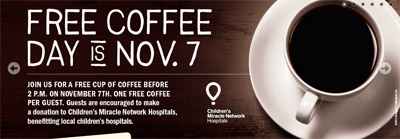 Free Coffee at Bruggers Bagels November 7th