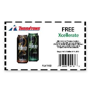 Free Xcellerate Energy Drink at Thorntons