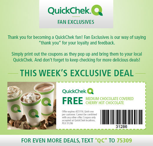 Free Medium Chocolate Covered Cherry Hot Chocolate at Quick Chek