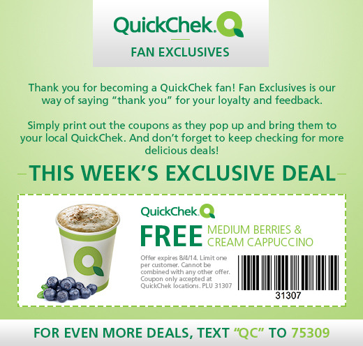 Free Medium Berries & Cream Cappuccino at Quick Chek