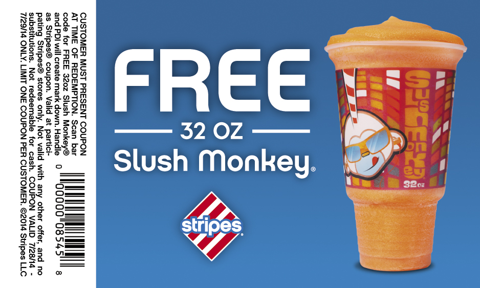 Free 32oz Slush Monkey at Stripes Stores