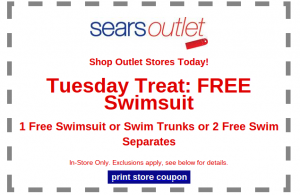Free Swimsuit at Sears Outlet on 9/16