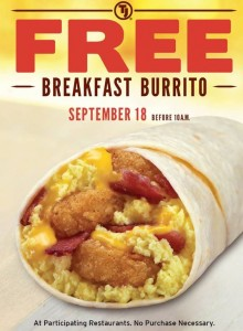 Free Breakfast Burrito at Taco John's on 9/18
