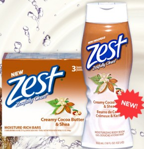 Free Zest Creamy Cocoa Butter & Shea Body Wash and Bar Soap Starting 9/29