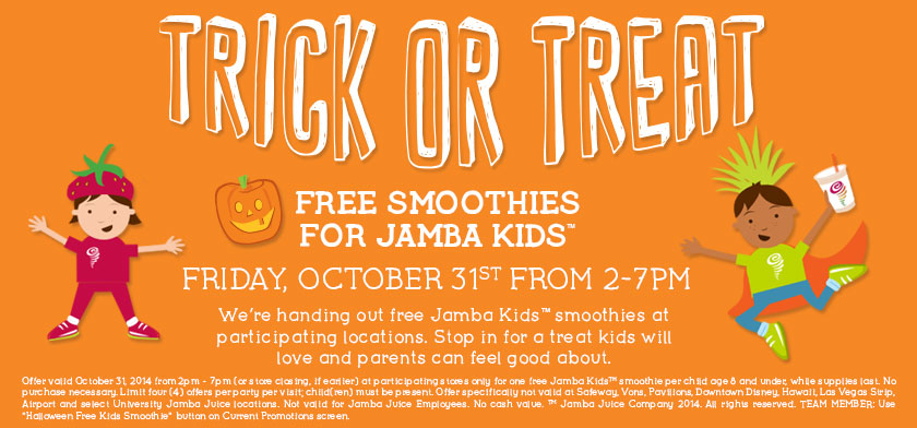Free Smoothie for Kids at Jamba Juice Friday October 31st from 2 7pm