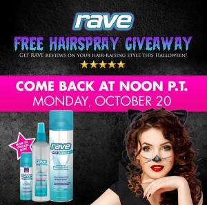 Free Rave Hairspray Starting Monday 10/20 at 3pm ET