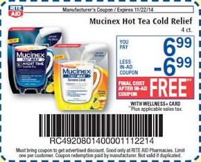 Free Mucinex Hot Tea Cold Relief at Rite Aid