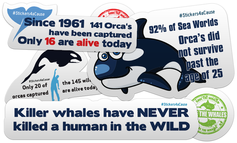 Free Stop Orcas in Captivity Stickers