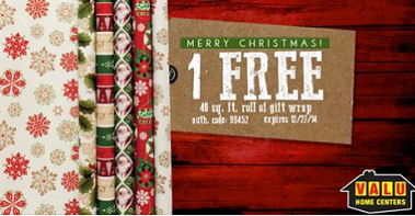 Free Roll of Gift Wrap at Valu Home Centers