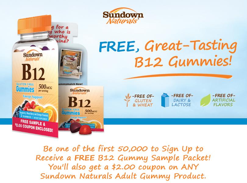 Free Sundown Naturals B12 Gummy Sample Packet