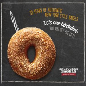3 Free Bagels at Bruegger's Bagels on 2/5