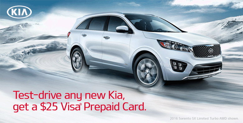Free $25 Visa Prepaid Card When You Test Drive any New Kia