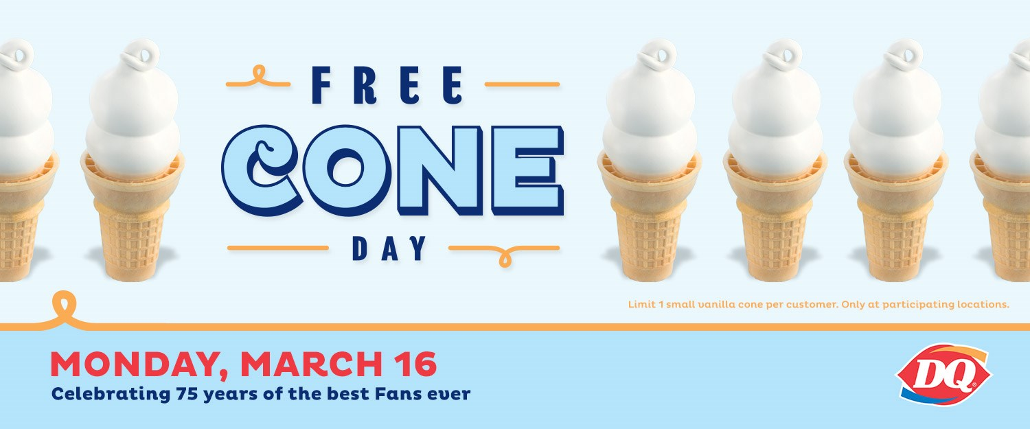 Free Ice Cream Cone at Dairy Queen on March 16th